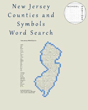 New Jersey Counties and Symbols Word Search