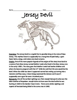 New Jersey Devil - Cryptid Creature Lesson Article Review Questions Facts Vocab