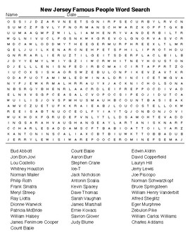New Jersey Famous People Crossword and Word Search with KEYS