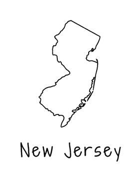 New Jersey Map Coloring Page Activity - Lots of Room for N