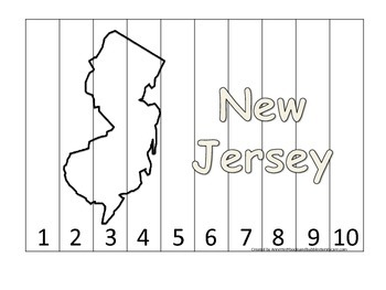 New Jersey Number Sequence Puzzle.  Learn the States preschool printable game