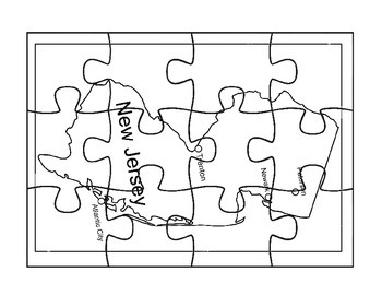 New Jersey Puzzle Map Activities