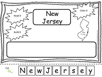 New Jersey Read it, Build it, Color it Learn the States preschool worksheet.
