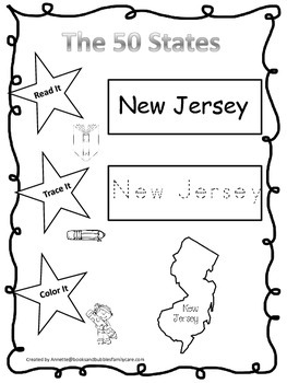 New Jersey Read it, Trace it, Color it Learn the States preschool worksheeet.
