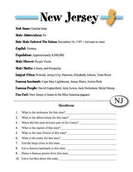 New Jersey State Information & Worksheet
