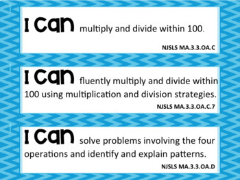 "New Jersey State Learning Standards ""I CAN"" statements- Third Grade"