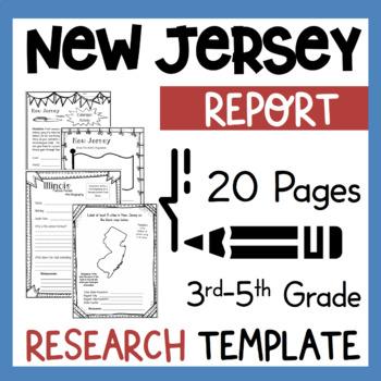 New Jersey State Research Report Project Template + bonus timeline Craftivity NJ