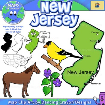 New Jersey State Symbols and Map Clipart