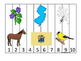 New Jersey State Symbols themed 1-10 Number Sequence Puzzle Game. Preschool Game