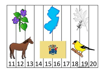 New Jersey State Symbols themed 11-20 Number Sequence Puzzle Game. Preschool Gam
