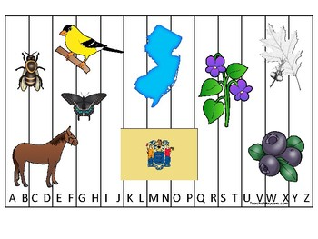 New Jersey State Symbols themed Alphabet Sequence Puzzle Game.  Preschool Game.