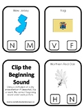 New Jersey State Symbols themed Beginning Sounds Clip It Game. Preschool Game.