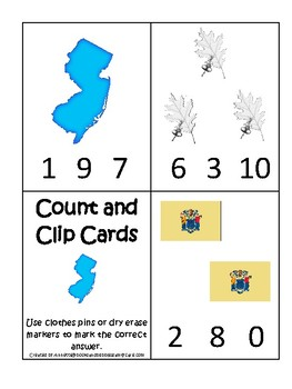 New Jersey State Symbols themed Count and Clip Card Game. Preschool Game.