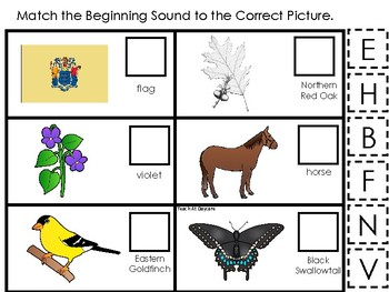 New Jersey State Symbols themed Match the Beginning Sound Game. Preschool Game.
