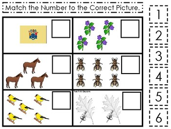 New Jersey State Symbols themed Match the Number Game. Preschool Game