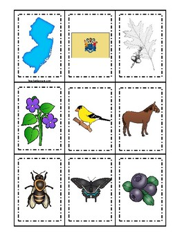 New Jersey State Symbols themed Memory Match Game. Preschool Card Game.