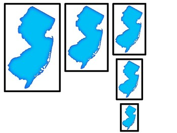 New Jersey State Symbols themed Size Sequence. Preschool Games. Four Differen