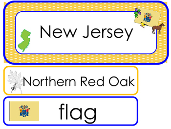 New Jersey State Word Wall Bulletin Board Set. Geography Curriculum.