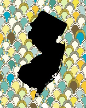 New Jersey Vintage State Map or Poster Class Decor Decoration