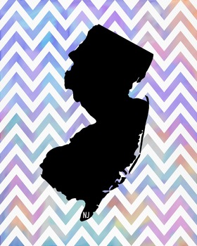 New Jersey Chevron State Map Class Decor, Government, Geography