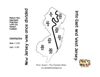 New Jersey fraction fun coloring page