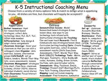 New K-5 Instructional Coaching Menu