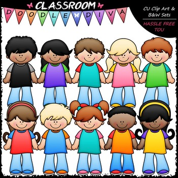 New Kids Clip Art - Boys & Girls Clip Art & B&W Set