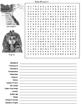 New Kingdom Egypt Word Search and Vocabulary Assignment
