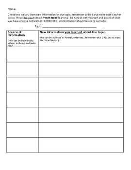 New Learning Note Catcher