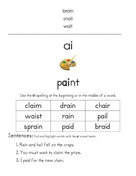 New Learning Page for Orton-Gillingham Long Vowel Teams