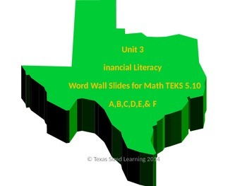 Math TEKS 5.10A,B,C,D,E, & F Set Financial Literacy Vocabulary