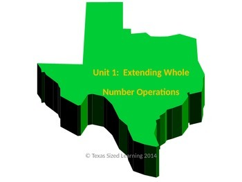 Math TEKS 5.3A,B,C & 5.3K Set Extending Whole Number Operations Vocabulary