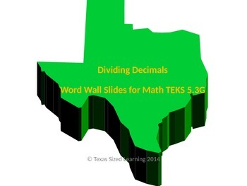New Math TEKS 5.3G Dividing Decimals Word Wall and Vocabul