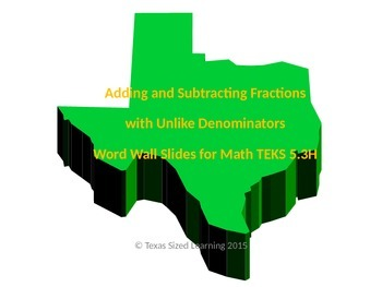Math TEKS 5.3H Adding and Subtracting Fractions with Unlike Denominators