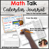 New!!! Math Talk Calendar Journal for Kindergarten (Foreve