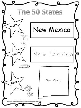 New Mexico Read it, Trace it, Color it Learn the States preschool worksheeet.