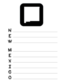 New Mexico State Acrostic Poem Template, Project, Activity, Worksheet