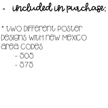 New Mexico Area Code Decor Posters