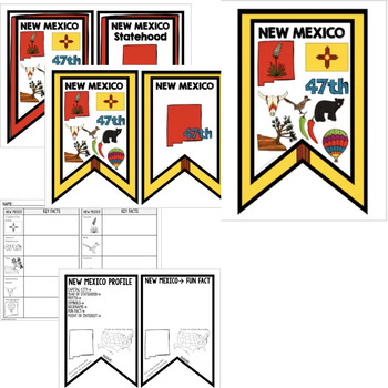 New Mexico History Word Wall, State Profile, Activity Pages