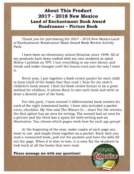 New Mexico Land of Enchantment 2017 - 2018 Book Review Activity Pack NO PREP