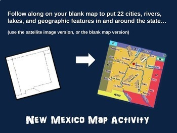 New Mexico Map Activity- fun, engaging, follow-along 20-slide PPT