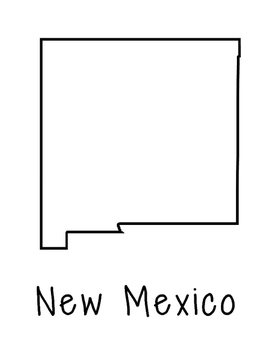 New Mexico Map Coloring Page Craft - Lots of Room for Note-Taking