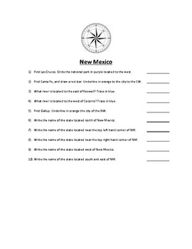 New Mexico Map Scavenger Hunt