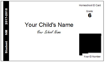 New Mexico (NM) Homeschool ID Cards for Teachers and Students