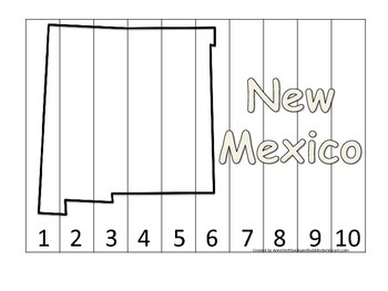 New Mexico Number Sequence Puzzle.  Learn the States preschool printable game.