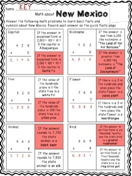Math about New Mexico State Symbols through Multiplication Practice