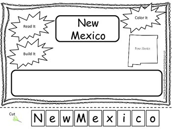 New Mexico Read it, Build it, Color it Learn the States preschool worksheet.