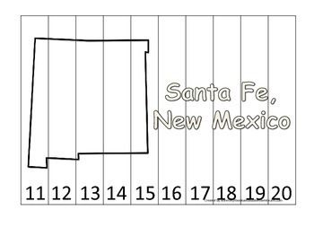 New Mexico State Capitol Number Sequence Puzzle 11-20.  Geography and Numbers.