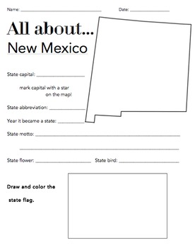 New Mexico State Facts Worksheet: Elementary Version