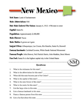 New Mexico State Information & Worksheet